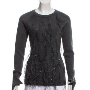 Jason Wu Gray Feather Accented Wool Blend Sweater